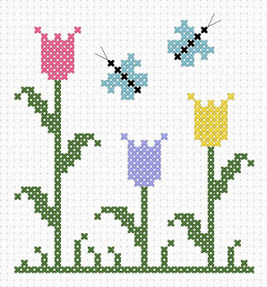 Simple Tulip Cross-Stitch Pattern