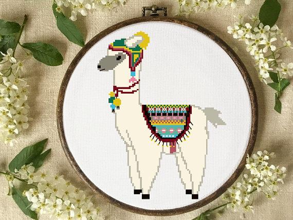 alpaca cross stitch