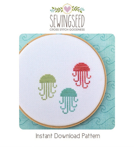 jellyfish cross stitch