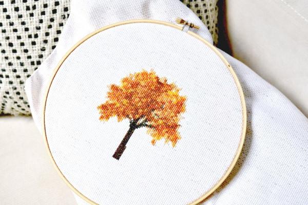 fall tree cross stitch