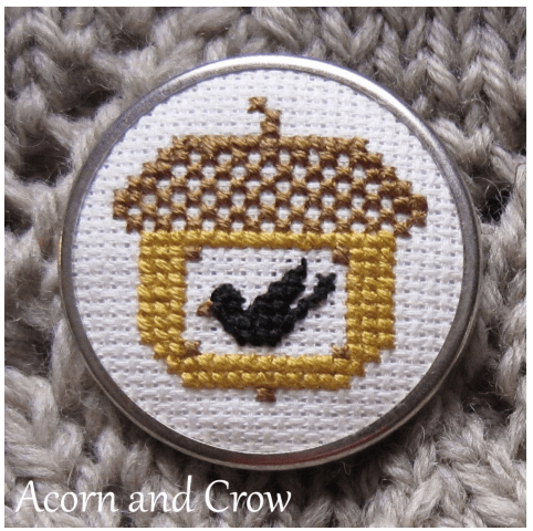 acorn and crow cross stitch
