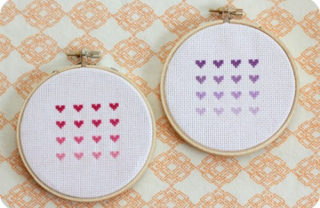 ombre heart cross stitch