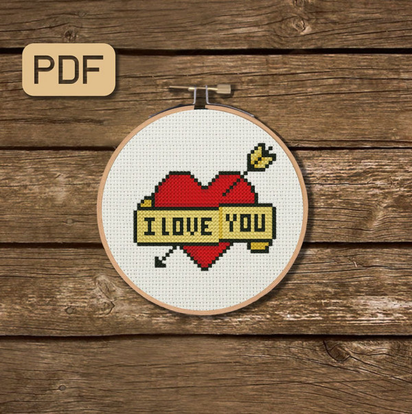 i love you tattoo cross stitch