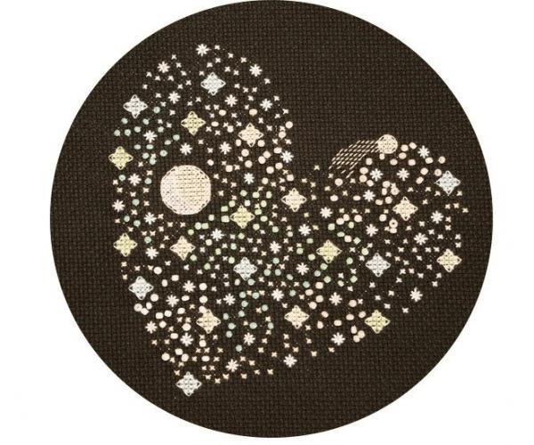 starry heart cross stitch