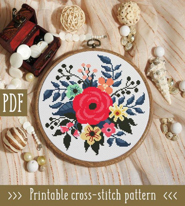 modern floral cross stitch