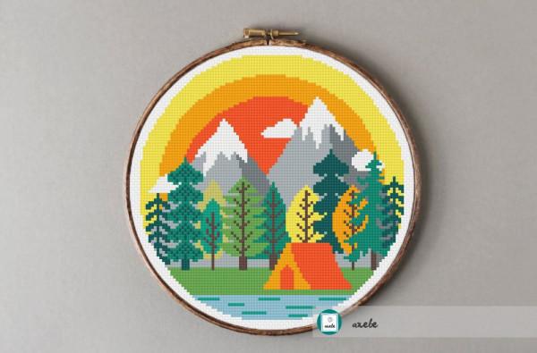 camping mountains cross stitch