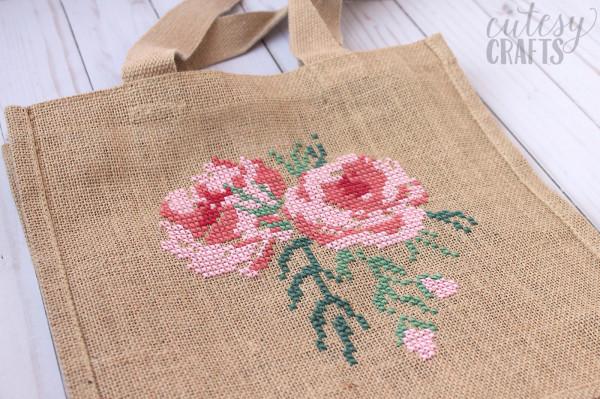 cross stitch on burlap bag