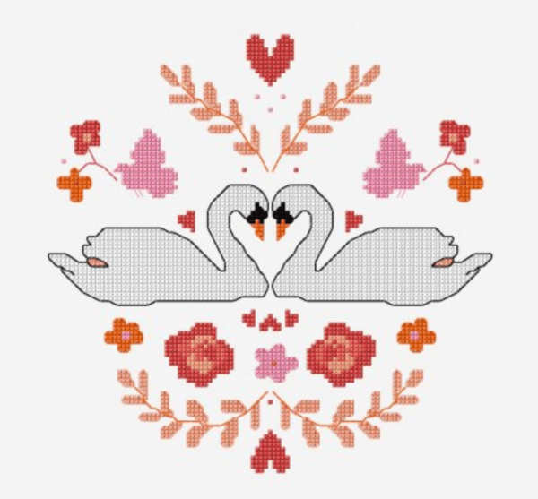 mirrored swan cross stitch