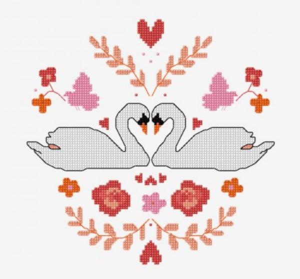 mirrored swan cross stitch