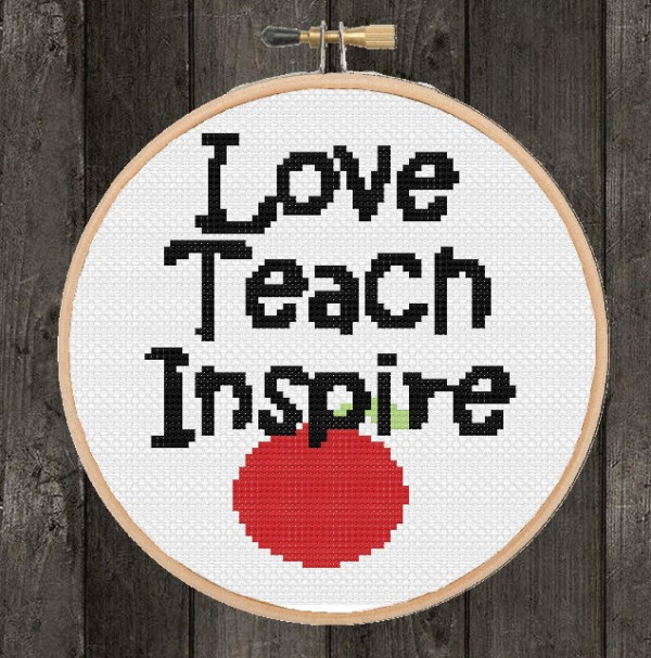 teacher cross stitch pattern