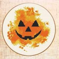 A Modern Pumpkin Cross Stitch Pattern