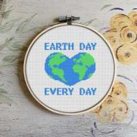 Earth Day Love Cross Stitch Pattern