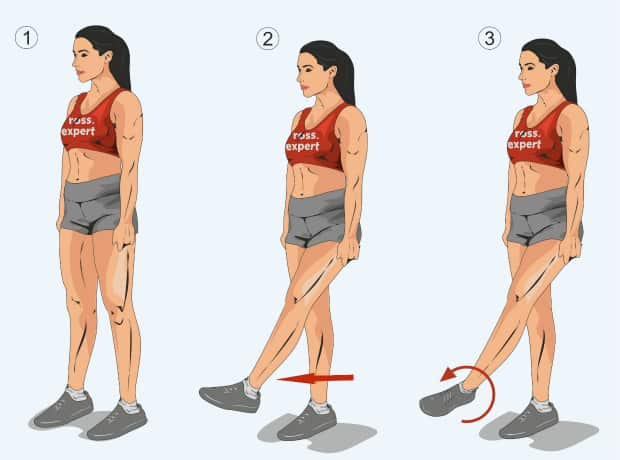 Rotation in the ankle joint standing