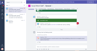 """""""Conversations"""" tab displays the channels latests updates. Here Planner Tasks have been updated, Test Guy 3 adds a comment notifying all users within Social Work Staff group."""