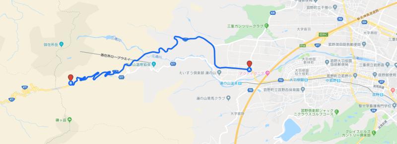 鈴鹿スカイライン_GoogleMap抜粋
