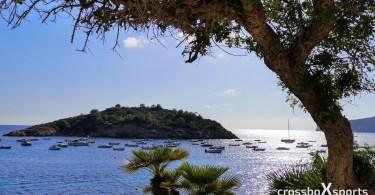 Mallorca - San Elm - Abendstimmung - Meer mit Schiffen vor einer Insel