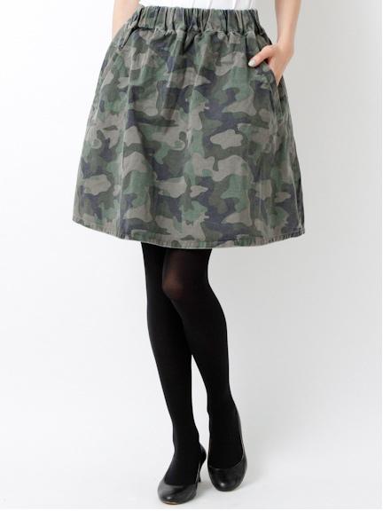 カモフラプリント ギャザースカート