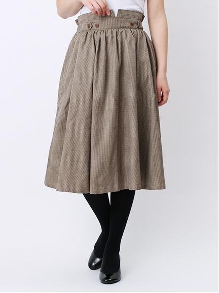 カラー千鳥インベル釦付スカート