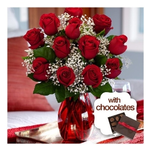 dozen red roses chocolates