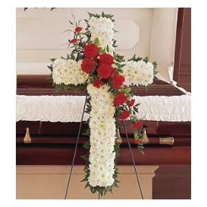 sympathy white daisy cross