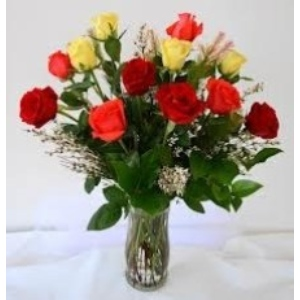 dozen roses babies breath vase arrangement