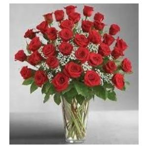 three dozen red rose flower arrangement