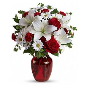 white lily red rose vase arrangement