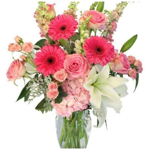 pink gerbera daisy roses lily vase arrangement