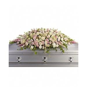 sympathy casket spray roses