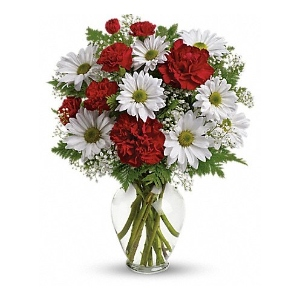 White daisy red carnation flower arrangement
