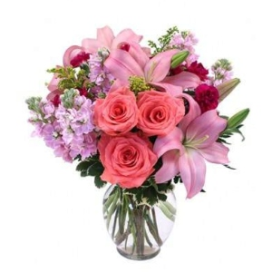pink lily roses flowers arrangement