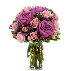 purple rose pink flowers vase arrangement