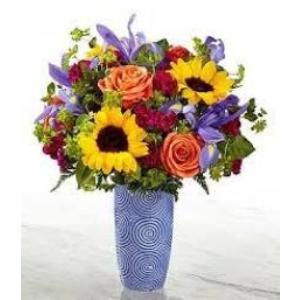 Iris sunflower rose vase arrangement