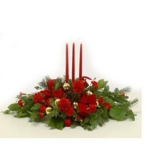 christmas candle centerpiece arrangement