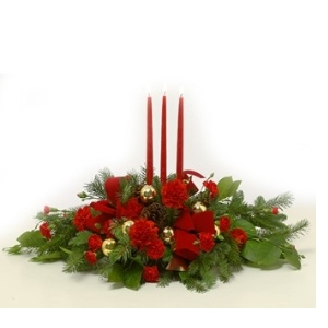 christmas candle centerpiece arrangement