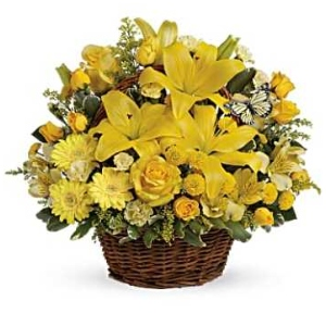 yellow flower arrangement lily rose daisy