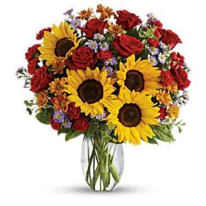 Rose sunflower fall flowers