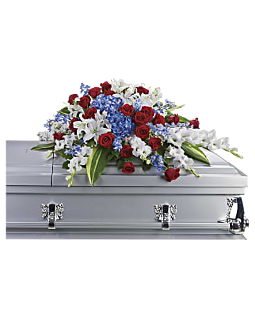 red white and blue flowers fit for any veteran's memorial service