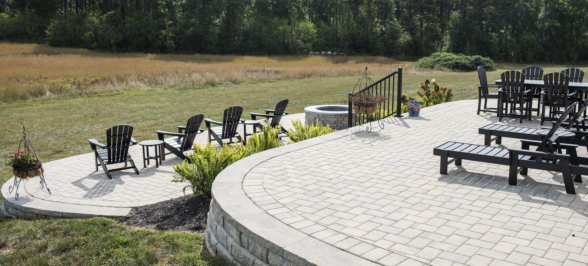 Elevated patio, pavers, stone, hardscape, landscape, entertaining