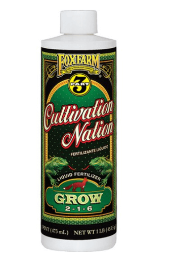 """A dark green bottle with cursive red script that says """"cultivation Nation"""""""