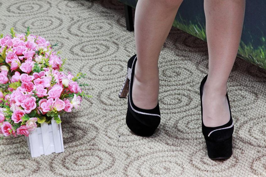 Crossdresser High Heels on Carpet