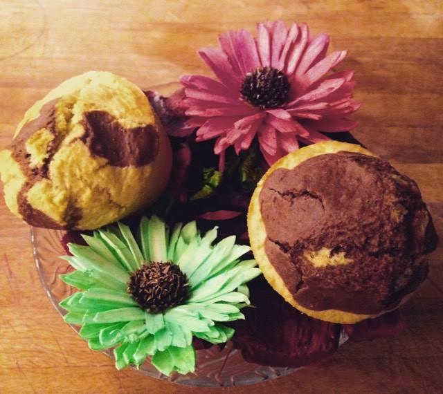 muffin con avena istantanea e cacao