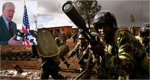 Police violence following Kenya election, inset Ambassador Ranneberger