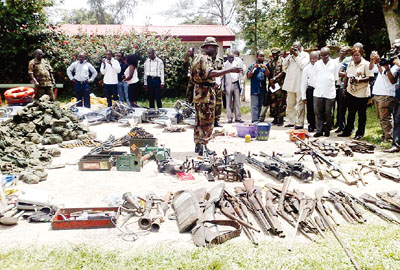 Arms and ammunition recovered from militant camps in Delta State... on Thursday May 21. Sola Adebayo