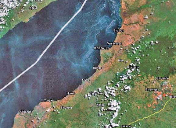Uganda along lake Albert.  The white line in the lake is the border between Uganda and DRC.  On the Unganda side you can see the places Tonyo, Hoima, and Butiaba marked on the map.  These are of particular interest to the oil business.