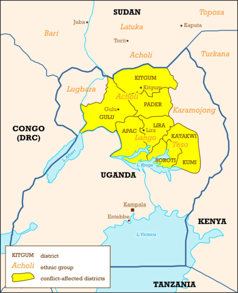 Ugandan districts affected by Lords Resistance Army, map created by Mark Dingemanse for Wikimedia.
