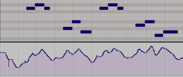 Velocity data, played in live to create a realistic volume envelope for a string part