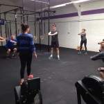 "Sunday's class warm up ready for front squats and ""Del"""