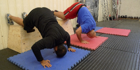 Vishal and Efe do scaled handstand push-ups from the box