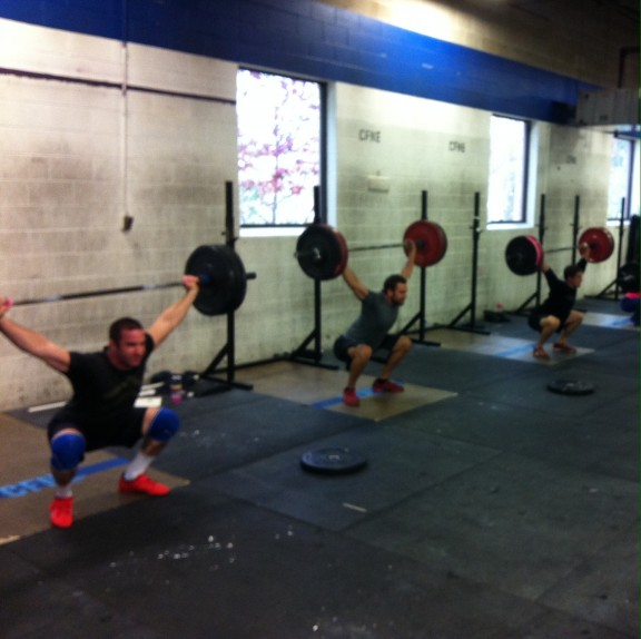 Just some dudes working on their snatch...nothing weird about that.